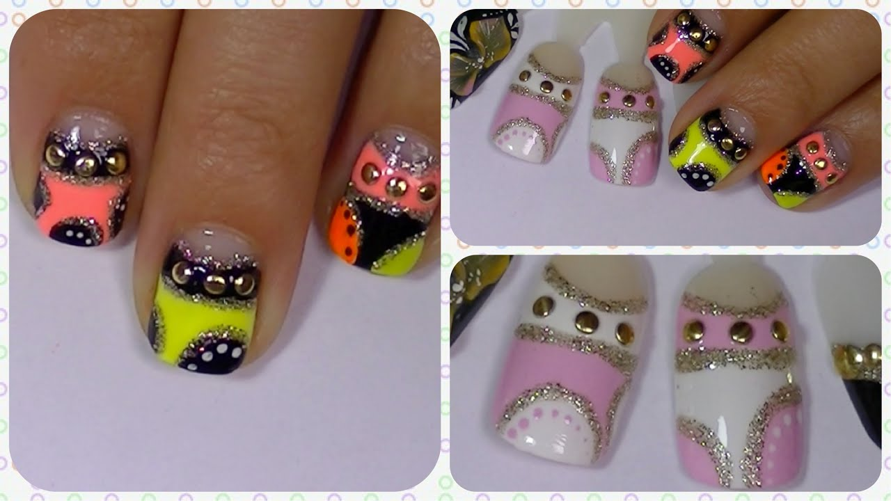 Bright & Fun Neon Nail Art Design for Short & Long Nails - YouTube
