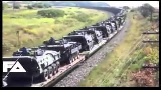 قطار من اربع طوابق محمل اسلحه و مدرعات روسيه استعدادا لمحاربه داعش وا اعداء روسيا