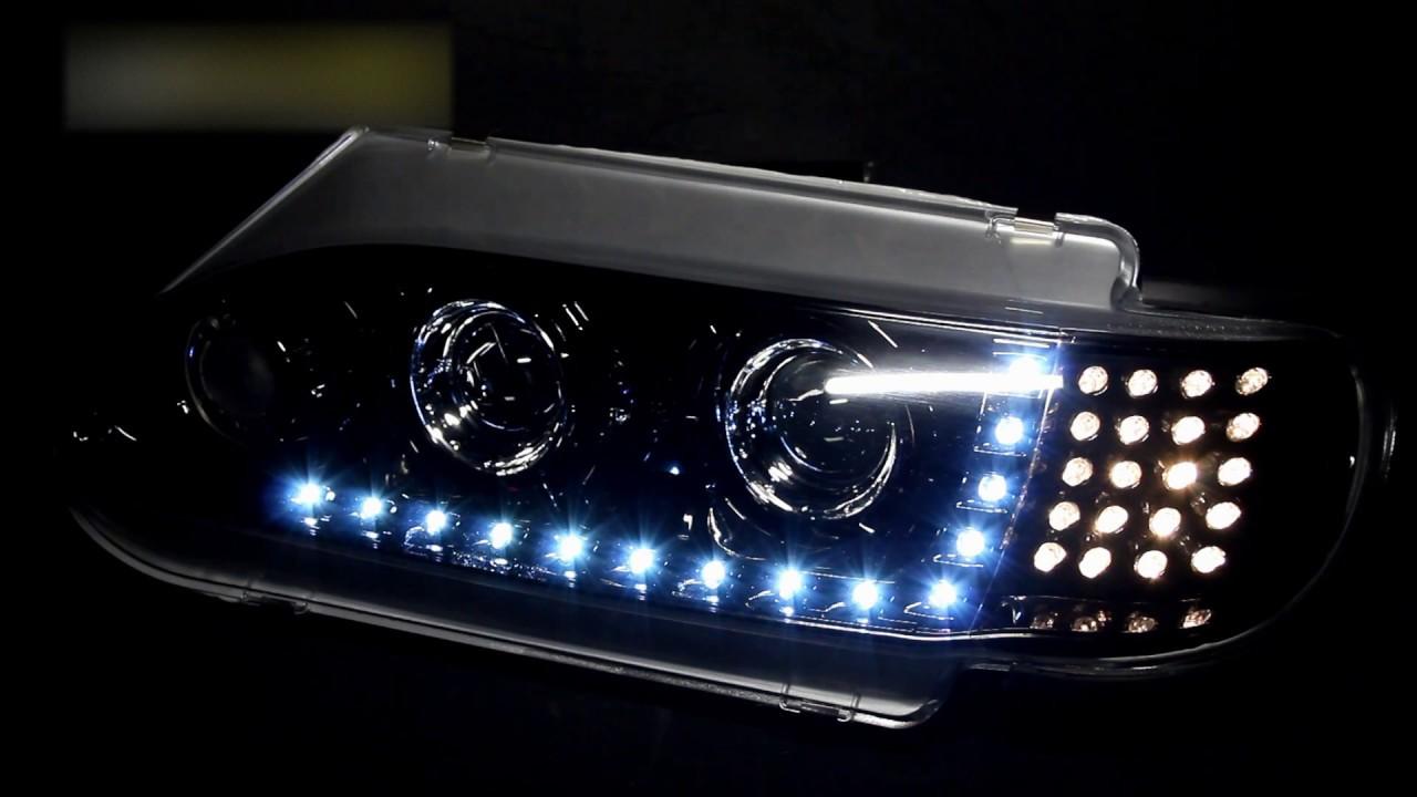 Черные фары на ВАЗ 2113 тюнинг, светодиодные ходовые огни ...