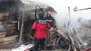 Kalorifer kazanı patladı, 2 katlı ev yandı