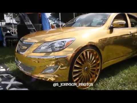 Blinding Gold Hyundai Genesis On 26 Inch Gold Lexani