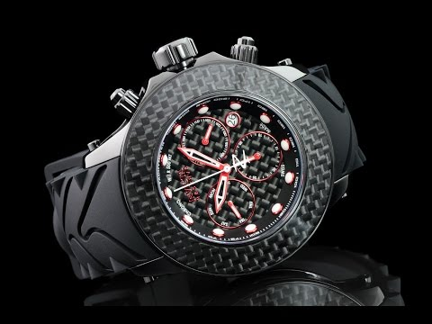 Invicta 22143 52mm Reserve Carbon Collection Swiss Made Chronograph Silicone Strap Watch