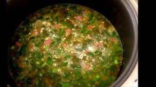 Вкусный зеленый борщ Green borsch with sausage