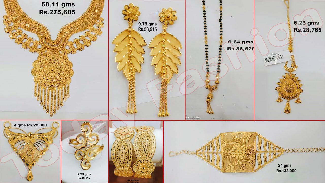 Latest gold earrings,necklace,mangalasutra,fingerrings,bangles,tika designs With Weight&Price | TF.