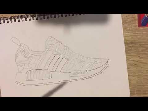 Drawing BAPE x Adidas NMD time lapse
