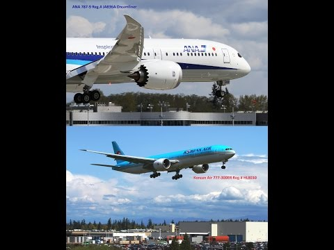 Test flight plane spotting of ANA 777-300ER & Korean Air 787-9 Dreamliner at Boeing, KPAE,Everett,WA