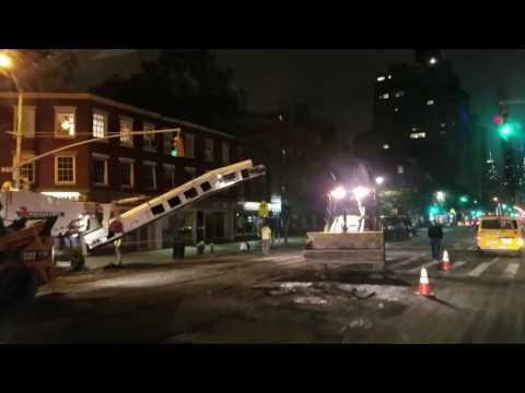 New York After Hours, Construction Crews Conducting Milling Operations In Midtown, Manhattan
