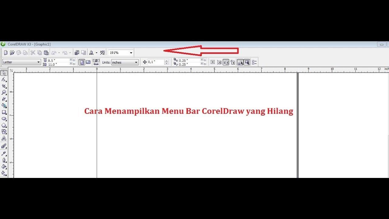 Cara Menampilkan Menu Bar Coreldraw Yang Hilang Youtube