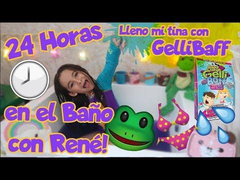 ¡24 HORAS EN EL BAÑO CON RENÉ!🐸/LLENO MI TINA CON GELLY BAFF😱