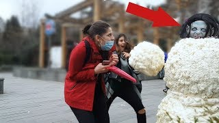 SCARY SNOWMAN PRANK #2 2019 - Hidden Camera Practical Joke - BUSHMAN PRANK