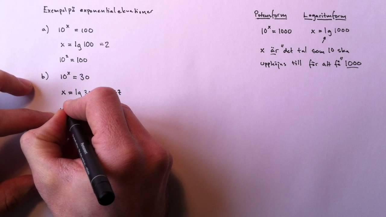 Exempel på exponentialekvationer