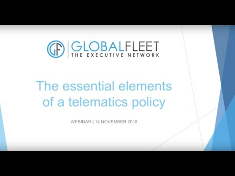 Global Fleet Webinar: the essential elements of a telematics policy