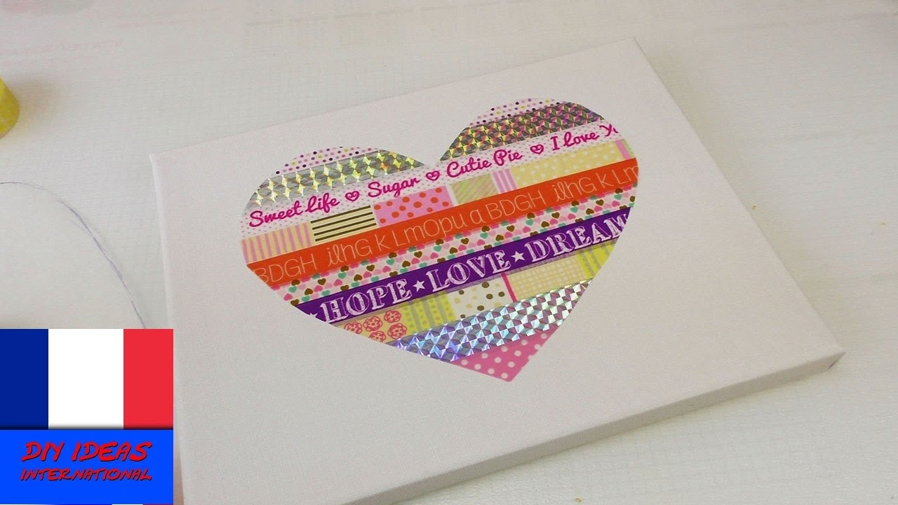 Tableau avec coeur en papier washi tape d coration de - Decoration en papier facile ...