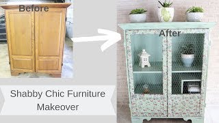 Shabby Chic Distressed Furniture Makeover/ Decoupage Furniture/ Farmhouse Furniture Transformation