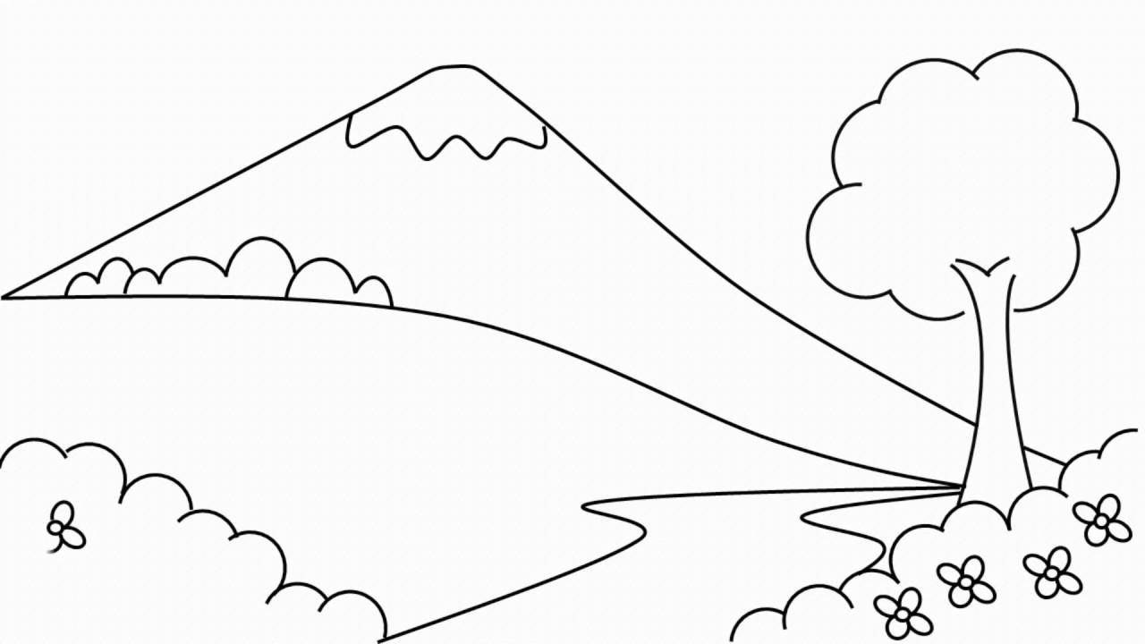 Cara Menggambar  Pemandangan Gunung Belajar Menggambar