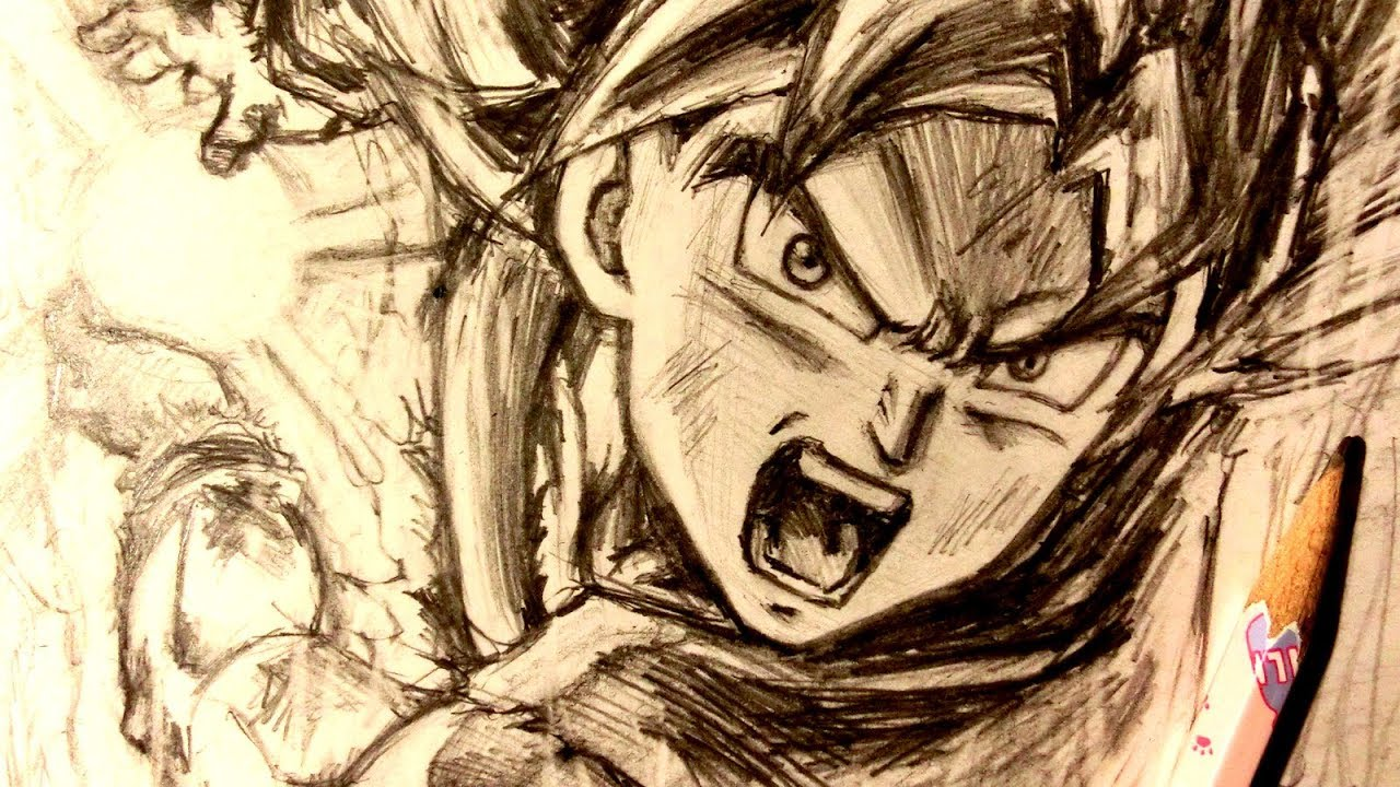 Asmr pencil drawing 98 ultra instinct goku request youtube - Goku ultra instinct sketch ...