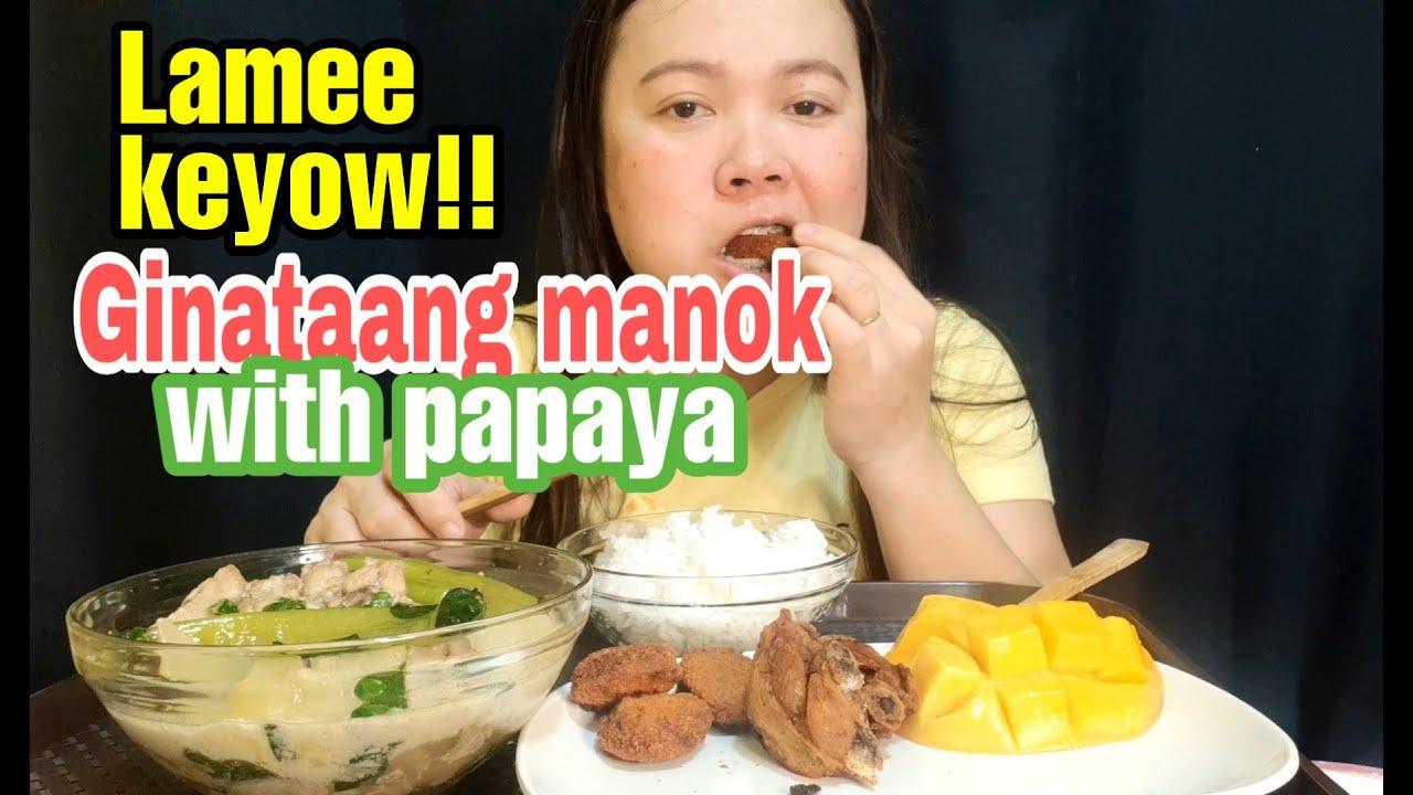GINATAANG MANOK WITH PAPAYA MUKBANG + FRIED CHICKEN AT CHICKEN NUGGETS!! PINOY MUKBANG