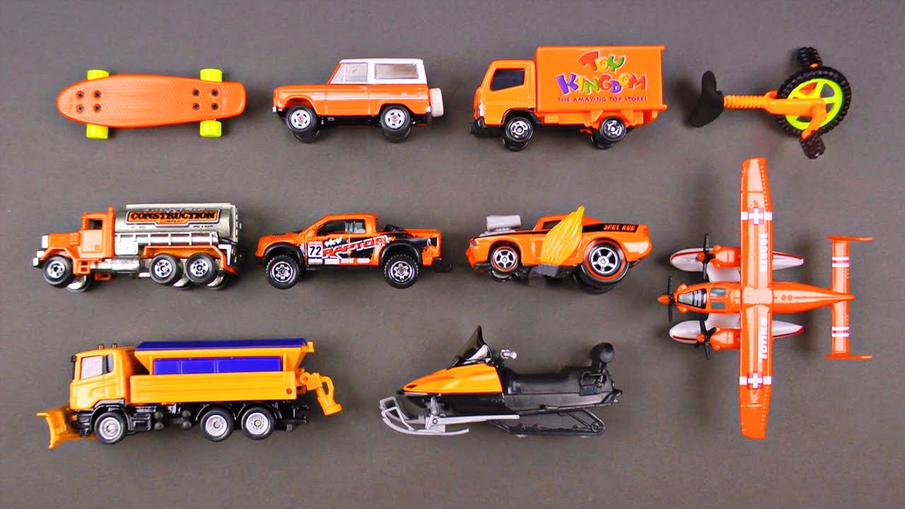 Learning orange street vehicles for kids cars and trucks by hot wheels matchbox tonka tomica youtube