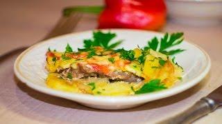Мясо по французски с помидорами и картошкой