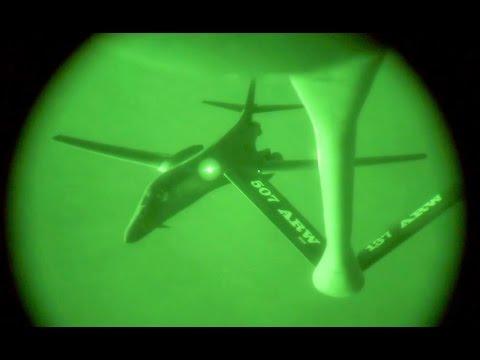 U.S. Military B1 Lancer Strategic Bomber Air Refueling
