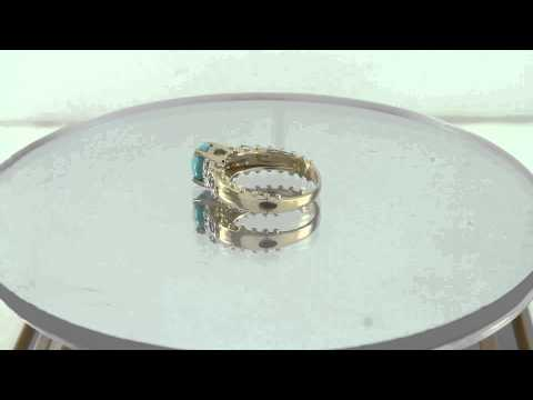Estate 0.58ct Sleeping Beauty Turquoise & Diamond 14k Yellow Gold Ring