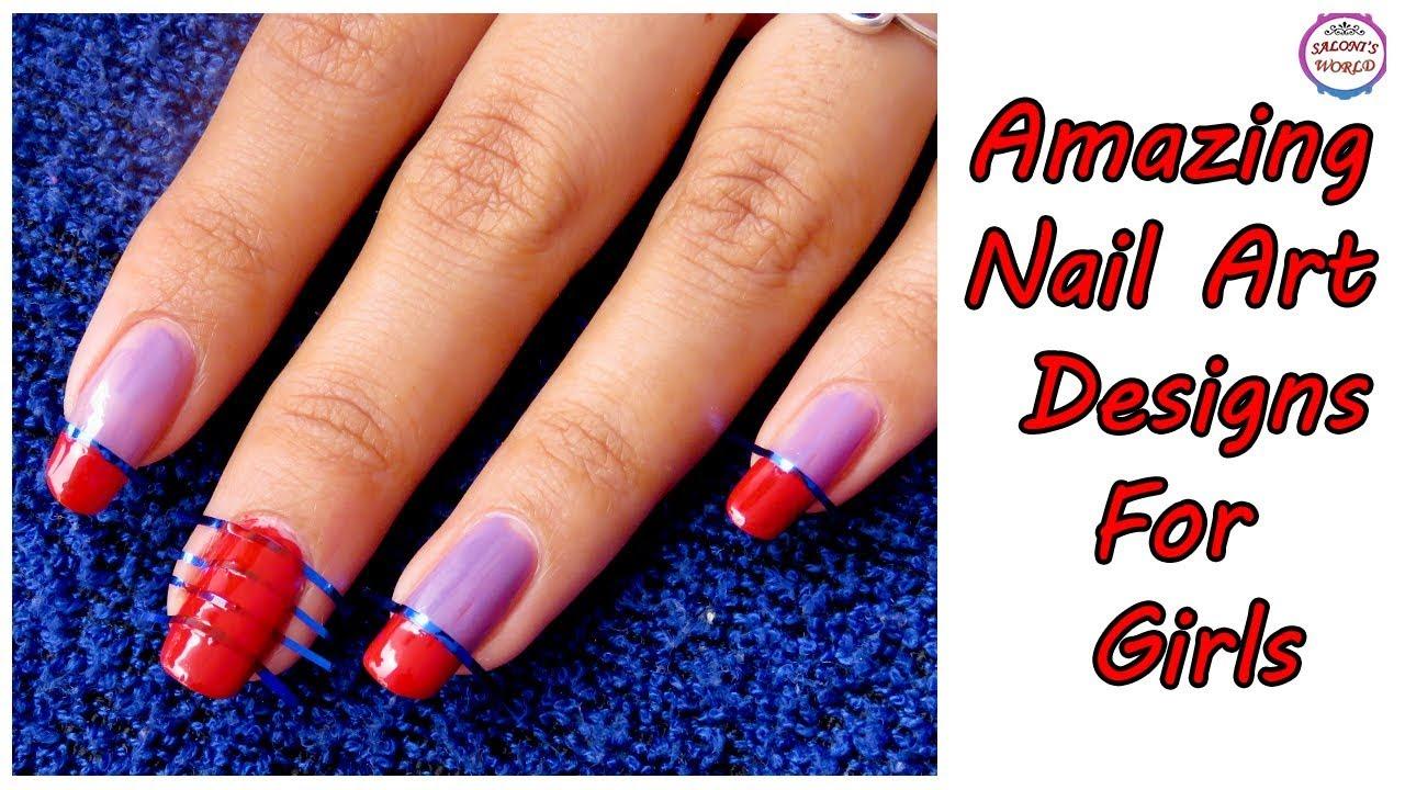 Diy Beautiful Easy Tape Nail Art 5 Minutes Nail Art Designs