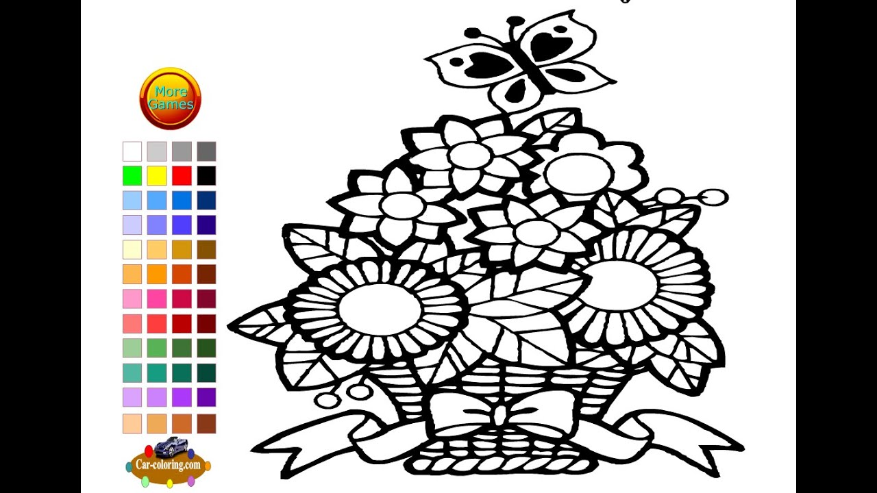 Flower Basket Coloring Pages For Kids Flower Basket Coloring