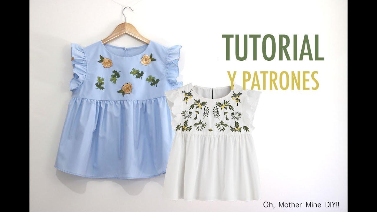 Costura de ropa para mujer: Blusa bordada (patrones gratis) - YouTube