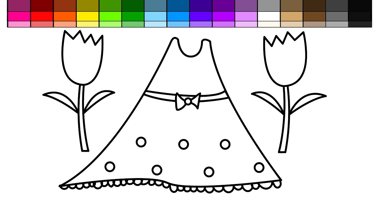 Princess wand coloring pages - New Flowers And Dress Coloring Pages For Kids To Learn Colors