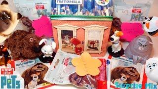 """МНОГО сюрпризов игрушек """"Тайная Жизнь Домашних Животных""""- наклейки, пакетики, игрушки Хэппи Мил и др"""