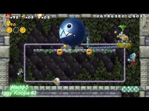 New Super Mario Bros. Wii ★All Boss Fights with 3 players★ [Part 1/2]