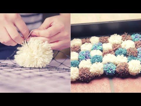 C mo hacer una alfombra de lana manualidades con lana - Como hacer pompones ...
