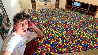 Filling my ENTIRE House with BALL PIT BALLS!! **insane**