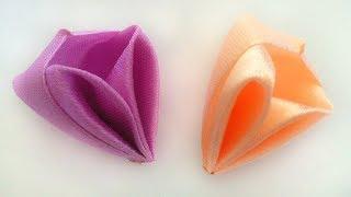 Новый лепесток канзаши Коробочка из атласных лент мастер класс. New Kanzashi petal box satin ribbons
