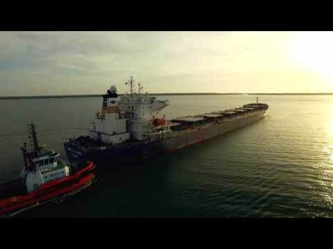 Full ore ship at sunset Weipa QLD