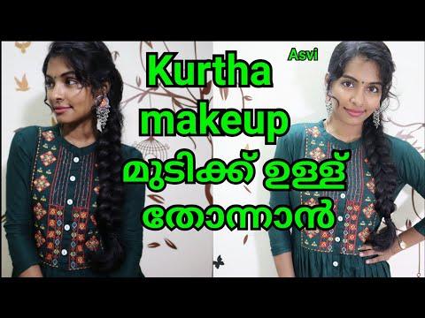 Simple Kurtha/churidar makeup look in malayalam|Easy hairstyle for thin hair|Braided hairstyle|Asvi thumbnail