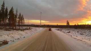Trucking in Roknäs windpark near Piteå, Sweden