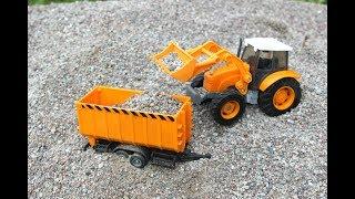 Трактор экскаватор и погрузчик для детей. Детские игрушки машинки. Играем и Копаем песок.