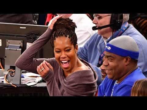 Regina King Was Nearly Crushed by 76ers Player Who Fell Into Crowd!