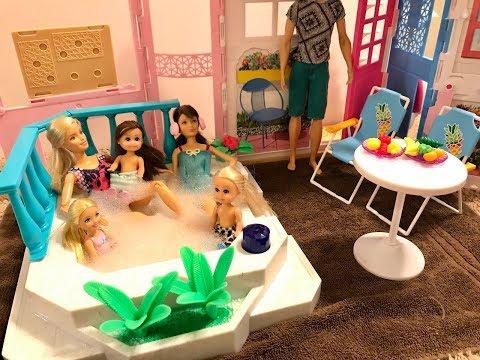 Barbie Hot Tub!! Haley, Ally, Chelsea, Skipper!