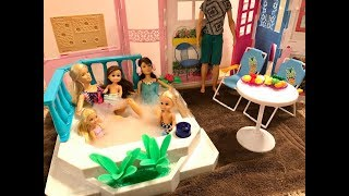 Barbie Hot Tub!! Haley, Ally, Chelsea, Skipper!