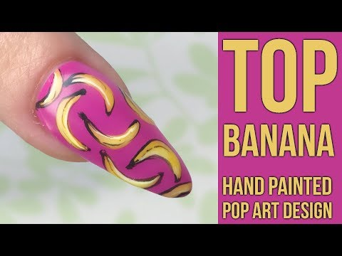 Banana Pop Art Design on a Sculpted Almond Nail - Special Guest Model