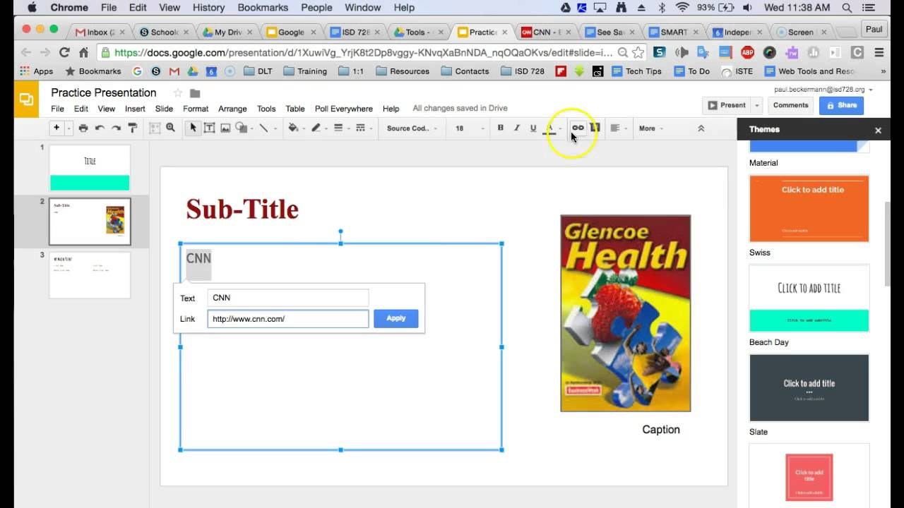 google slides insert hyperlinks youtube
