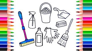 How to Draw Set  Cleaning Tools  for kids. Coloring Book Art