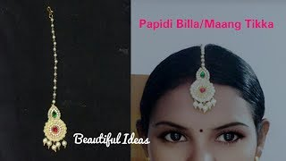 Papidi Billa//Maang Tikka //How to Make Pearl Designer Papidi Billa //DIY //Paper Jewellery Making