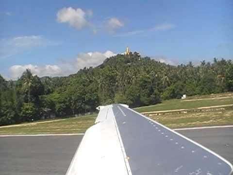 Take off Koh Samui Airport Thai Airways B737-400 to Bangkok TG282
