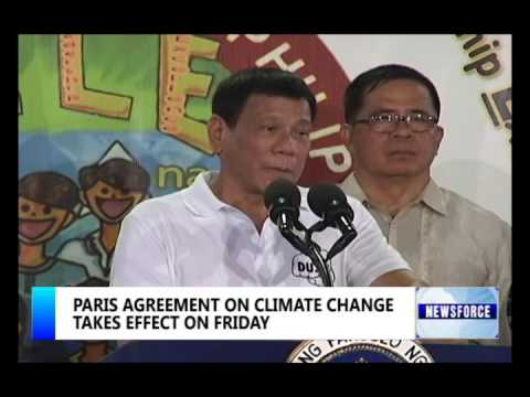 PARIS AGREEMENT ON CLIMATE CHANGE TAKES EFFECT FRIDAY