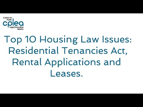 Top 10 Housing Law Issues - Residential Tenancies Act, Rental Applications, and Different Leases