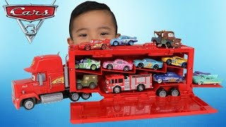 NEW Disney Cars 3 Toys Mack Playcase Unboxing Fire Truck Lightning McQueen Cruz Ramirez