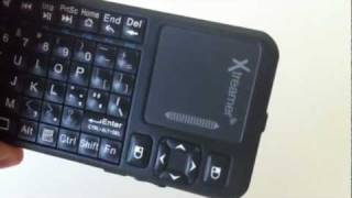 xtreamer wireless mini keyboard with touchpad in action